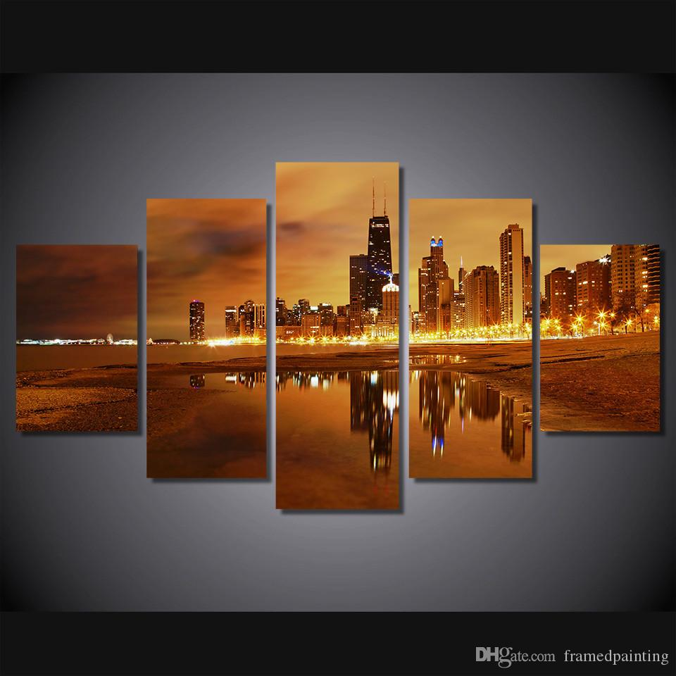 Compre / Marco Enmarcado Hd Imprimió La Ciudad De Chicago En La ...