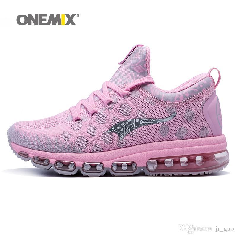 d60d8c8ef8f63 Acheter ONEMIX 2018 Femme Chaussures De Course Pour Les Femmes Rose Air  Coussin Athlétique Formateurs Sport Chaussure De Sport Maille Respirant En  Plein Air ...
