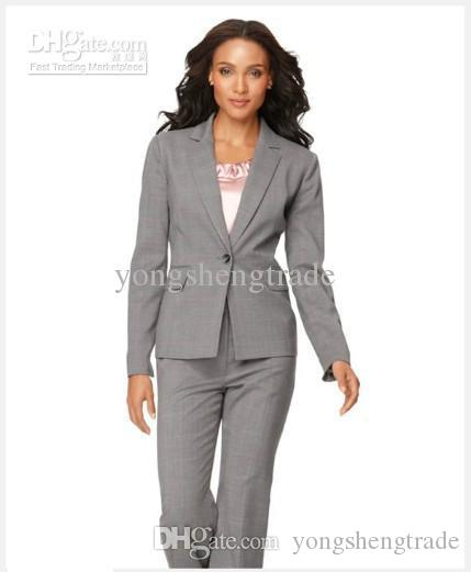 Lady Brand Suit Light Gray Women Suit Long Sleeve Jacket & Straight Leg Pants Accept Custom Made