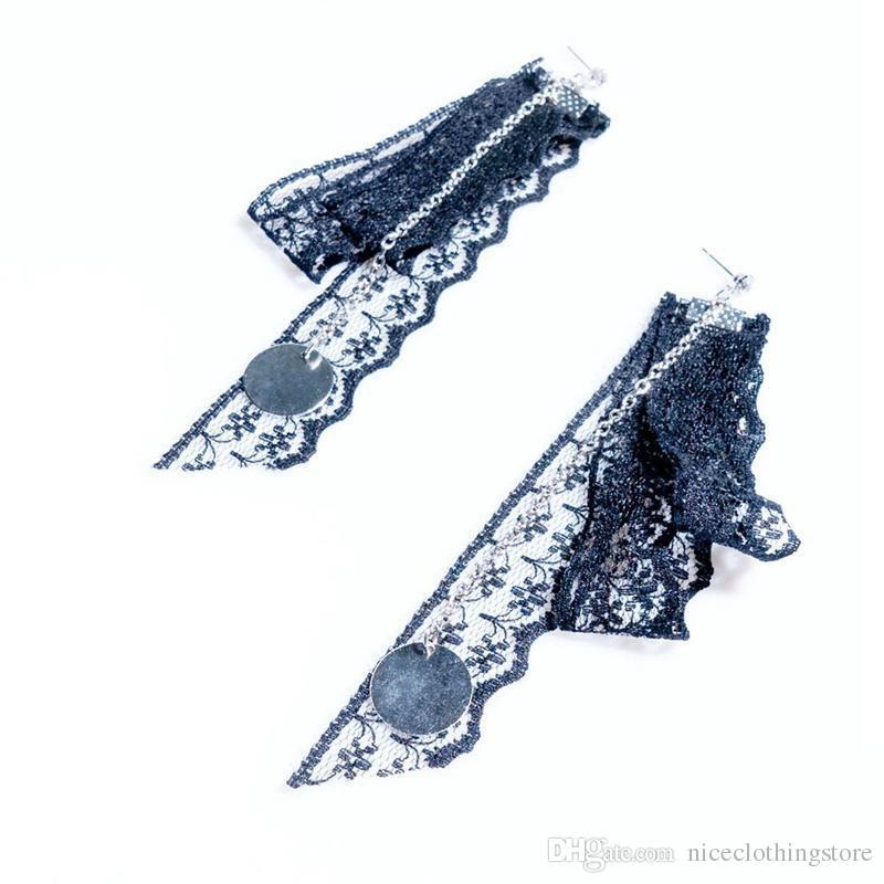 Orecchini pendenti geometrici con ciondolo triangoli fatti a mano Orecchini con design nappa lungo in pizzo nero con orecchino gotico le donne