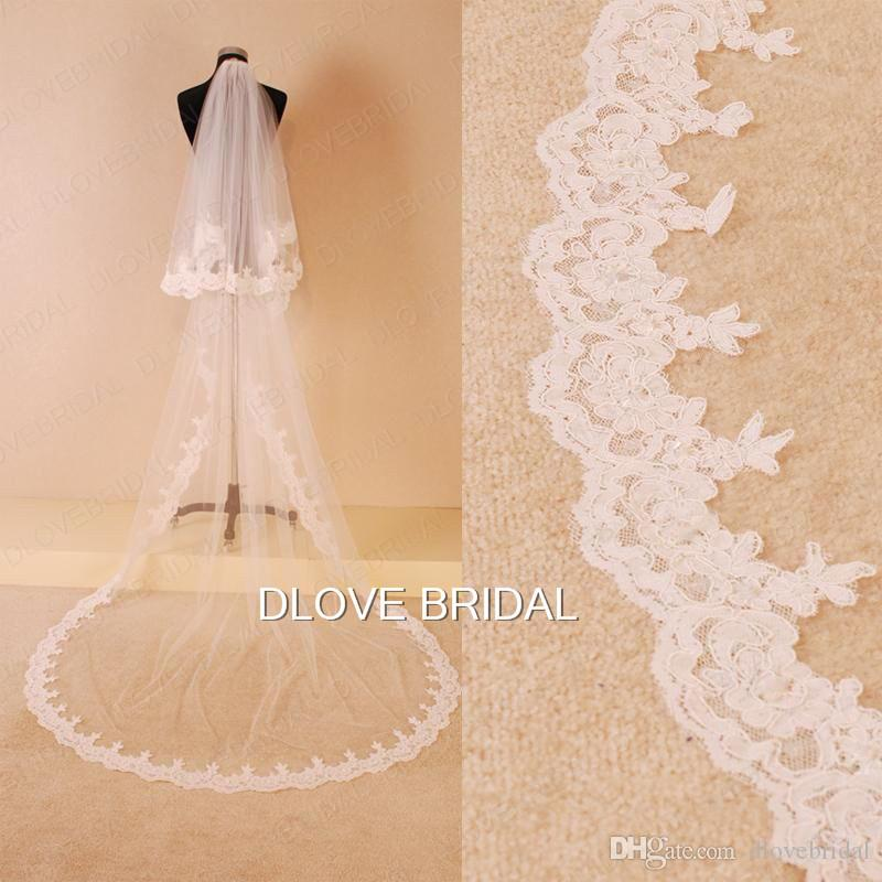 Two Layer Tulle Bridal Wedding Veil Lace Appliqued Edge Chapel Train Long Lace Muslim Hair Accessory White Ivory with Comb