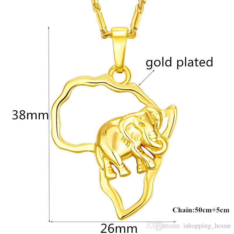 Collana di moda di fascino hotsale 18k oro giallo placcato in oro 925 argento placcato africa elefante pendente collana uomo donne JNL1014