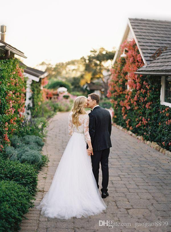 2019 modest primavera maniche lunghe abiti da sposa in pizzo con gonna staccabile sopra gonne piano lunghezza keyhole posteriore abiti da sposa