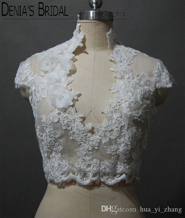 2017 Bridal Wedding Jacket with High collar V-neck Capped Sleeve Lace Appliques Handmade Flowers Pearls Buttons Real Images Wedding Bolero