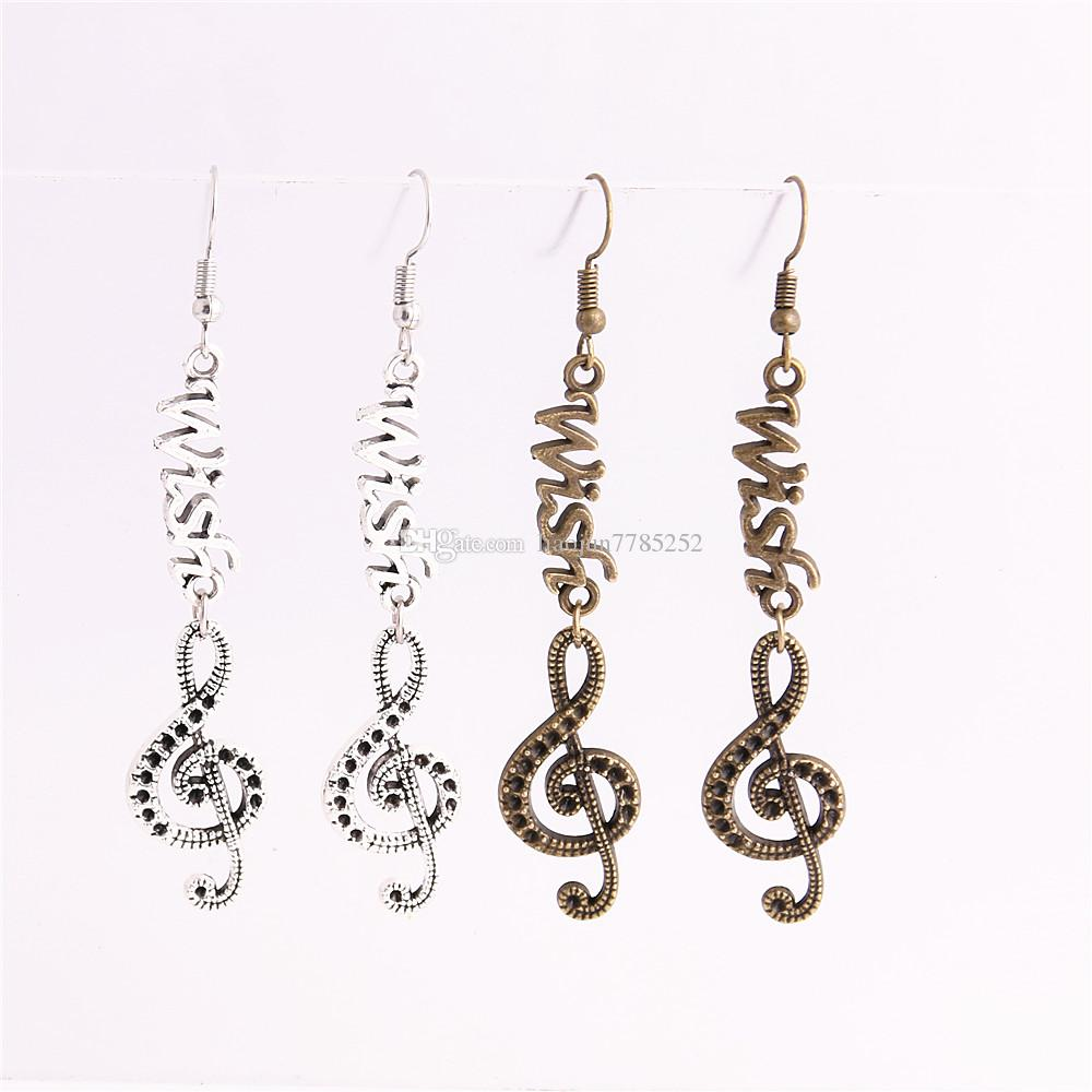 Metal Alloy Zinc Letter Wish Connector Music Note Pendant Charm Drop Earing Diy Jewelry Making C0760