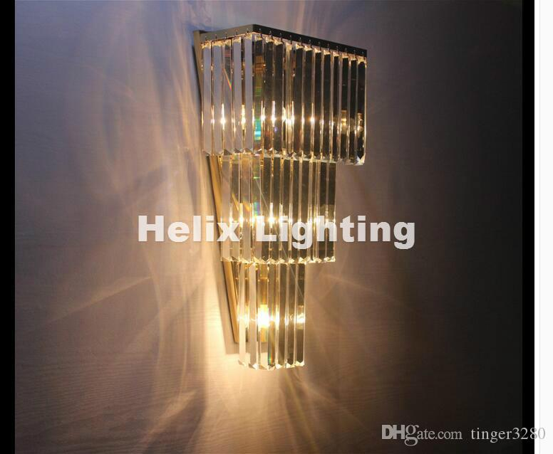 Newly Chrome/Golden Wall Lamp W30cm Wall Sconce Bedside Living Room Wall Light K9 Clear Crystal Guaranteed 100%+!