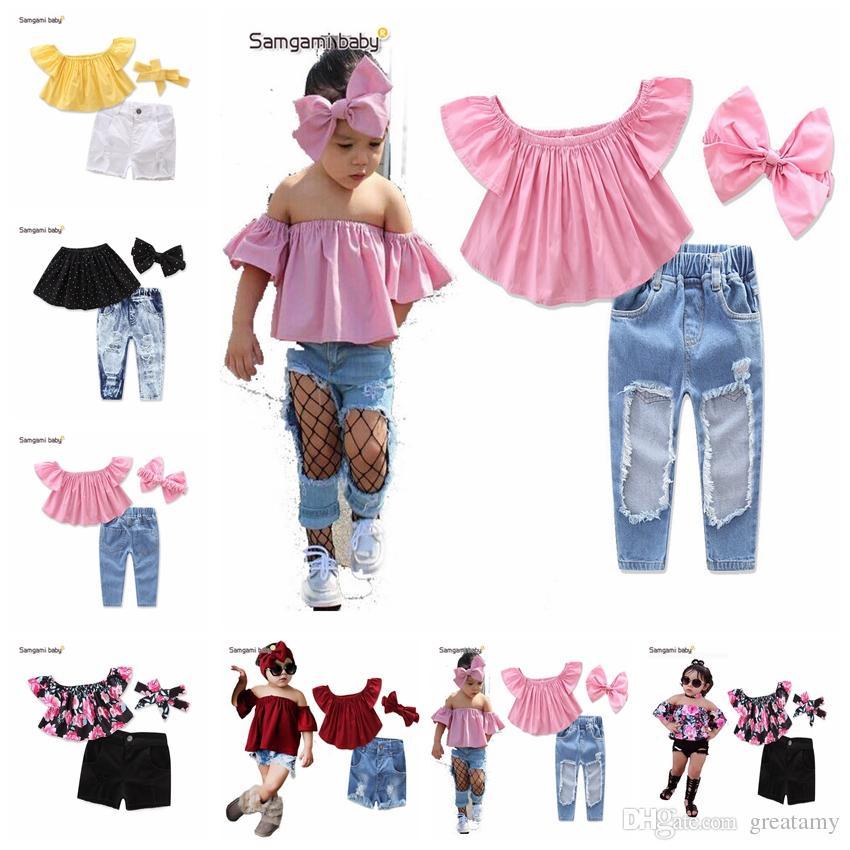 5ac5c05d527a Children Set Kids Suit Outfits Girl Clothes Flat Shoulders Short Sleeve Top+ Jeans+headband Child Suit Kids Sets Girls Outfits Baby Girls Clothes Set ...