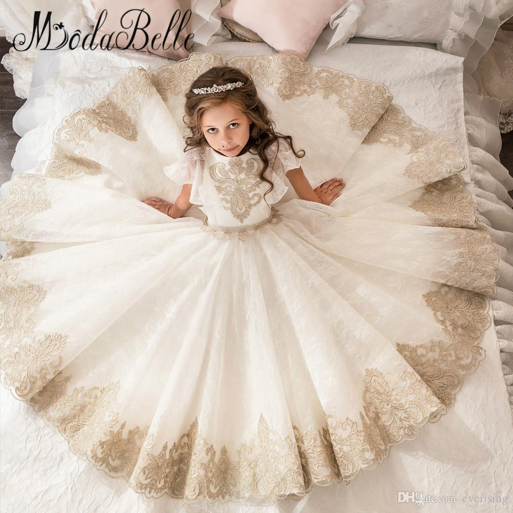 b0e4d3d412d44 modabelle lace flower girl dress champagne kids graduation gowns children  ball gown party dresses for girls pageant dresses
