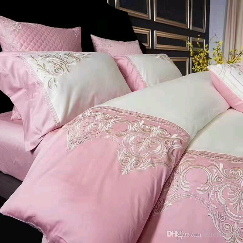 2018 hometextile embroidery applique designs four pieces bed sheet flat sheet bedding set,queen and king size avaible pink color