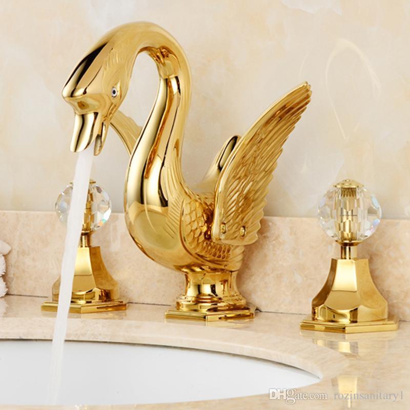 الحمام الذهبي المنتشر حديثا 8 بوصة على سطح السفينة حوض الحمام الصنبور البلوري المزدوج مقابض شكل بجعة