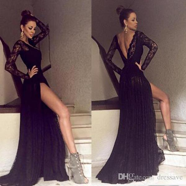 2017 Black Lace Prom Dresses With Long Sleeves Slip Side V Neck ...