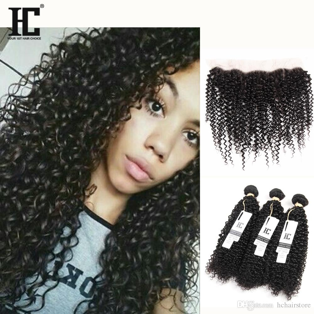HC 13x4 Size Curly Lace Frontal With Human Hair Bundles Malaysian Kinky Curly Virgin Hair Weave With Lace Frontal Closure Kinky Curly Hair