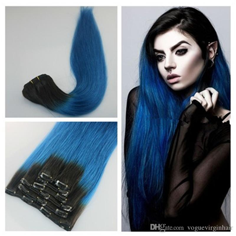1b Blue Ombre Clip In Human Hair Extensions Human Hair Clip In