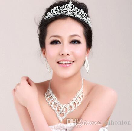 High Quality Shining Beaded Crystals Bridal tiaras crown Wedding Crown necklace set Bridal Crown Headband Hair Accessories Party Tiara HT143