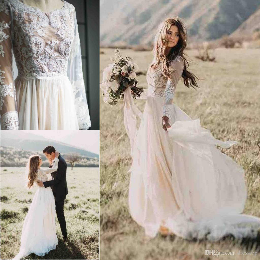 Discount Boho Beach Lace Wedding Dresses Deep Jewel Neck A