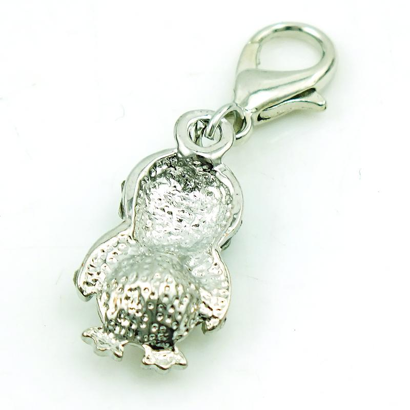 Mode flytande charm med hummerlås vit rhinestone kristall pingvin djur DIY charms för smycken gör tillbehör