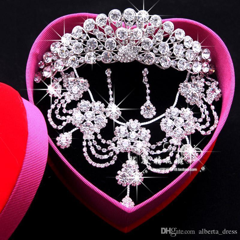 Luxus Glänzende Perlen Strass Braut Tiara Halskette Ohrringe Schmuck 3 Sätze Hochzeit Zubehör Für Hochzeit Abendgesellschaft