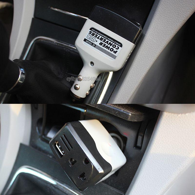 Universal 2 EN 1 CC 12 V 24 V a CA 220 V Convertidor de corriente para automóvil automático Adaptador inversor Cargador Con cargador USB Socket Cigarrillo encendedor
