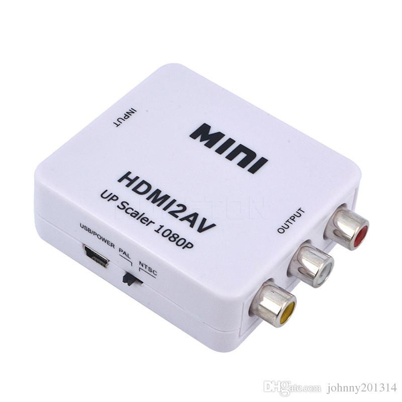 Mini HD 1080P HDMI2AV Videokonverterbox HDMI auf RCA AV / CVSB L / R Videounterstützung NTSC PAL Ausgang HDMI auf AV Adapter