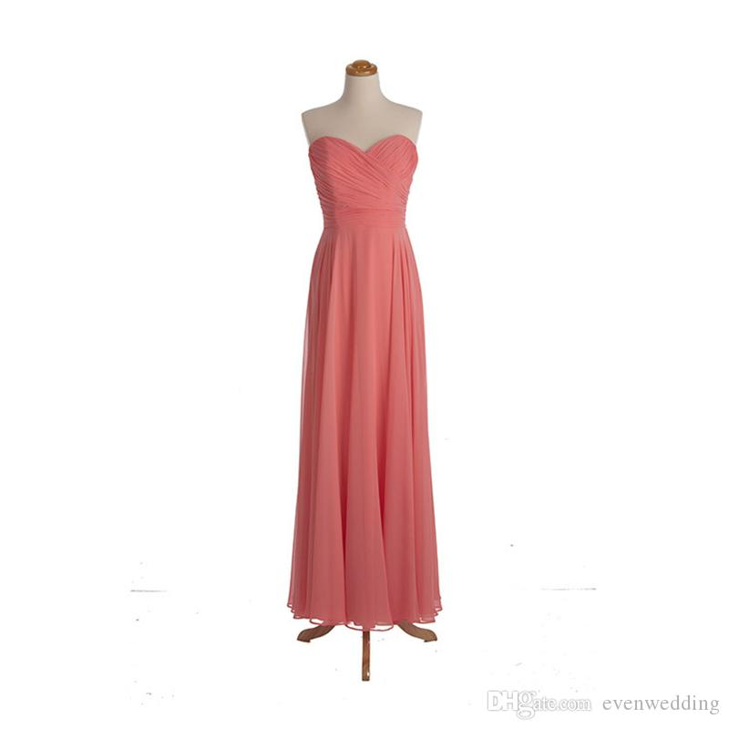 Pleated Chiffon A Line Bridesmaid Dresses Long 2017 New Formal Wedding Party Dress Coral Water Melon Color