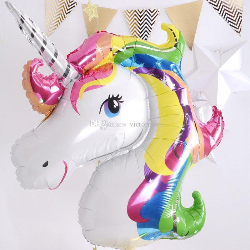 117*87cm Rainbow Unicorn Party Supplies Foil Balloons Kids Cartoon Animal Horse Float Globe Birthday Party Decoration