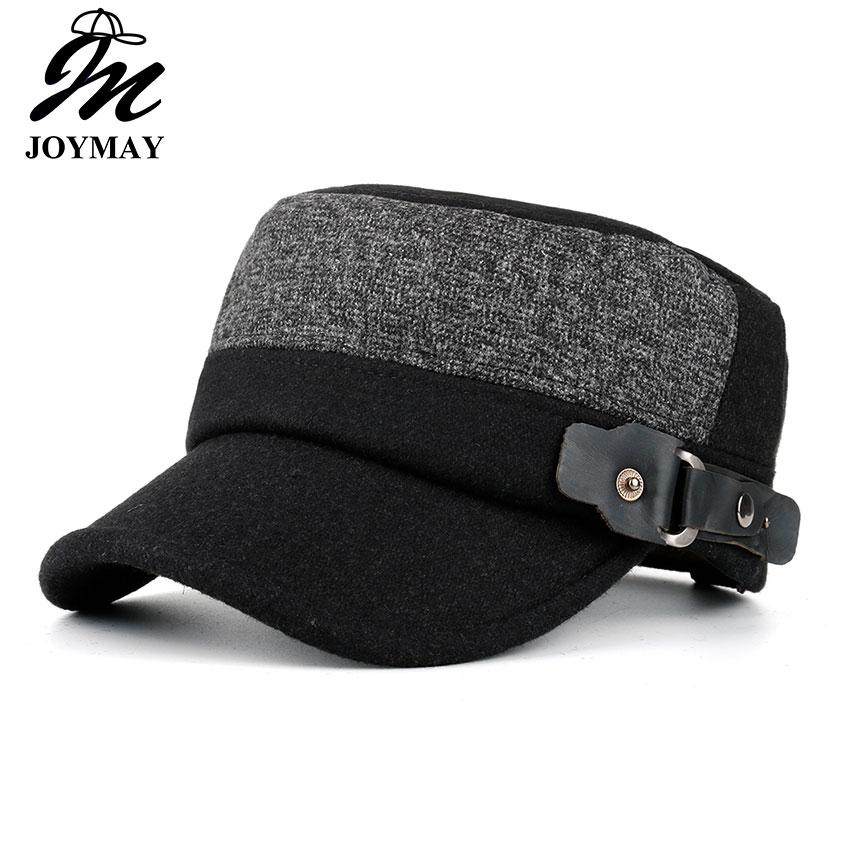 6226cf85f7592 Joymay New Winter Unisex Adjustable Flat Cap Military Hats Fashion Leisure  Casual Western Style Snapback HAT JunMao Hombres P010 Compton Cap Baseball  Caps ...