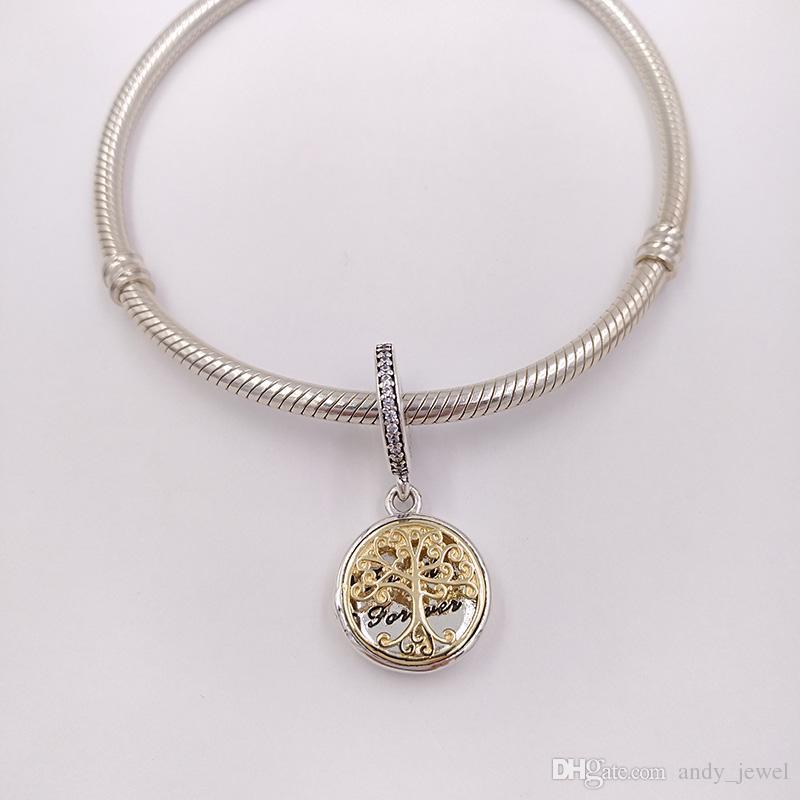 925 perline in argento Argento 14K oro famiglia roots ciondolo fascino adatti ai braccialetti di gioielli in stile Pandora europeo collana 791988cz