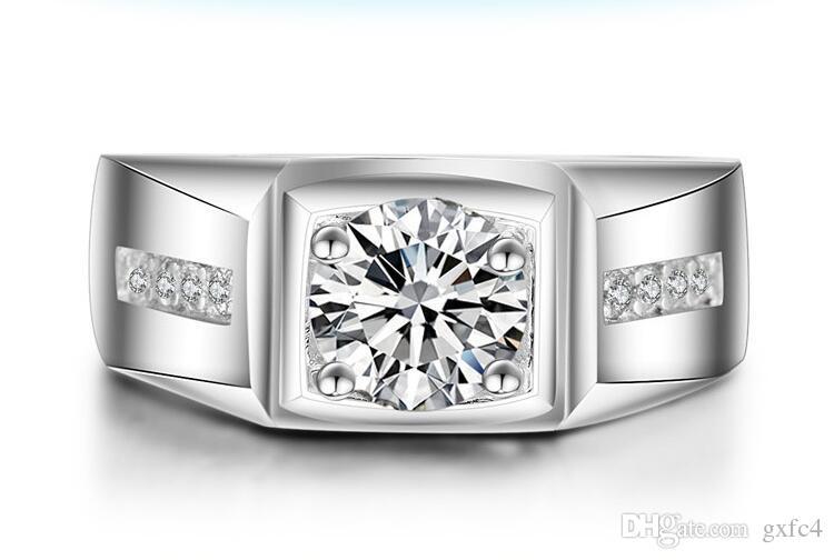 2018 New luxury CZ diamond square designs engagement wedding white gold men ring 2016 with zircon stone US size 7-12