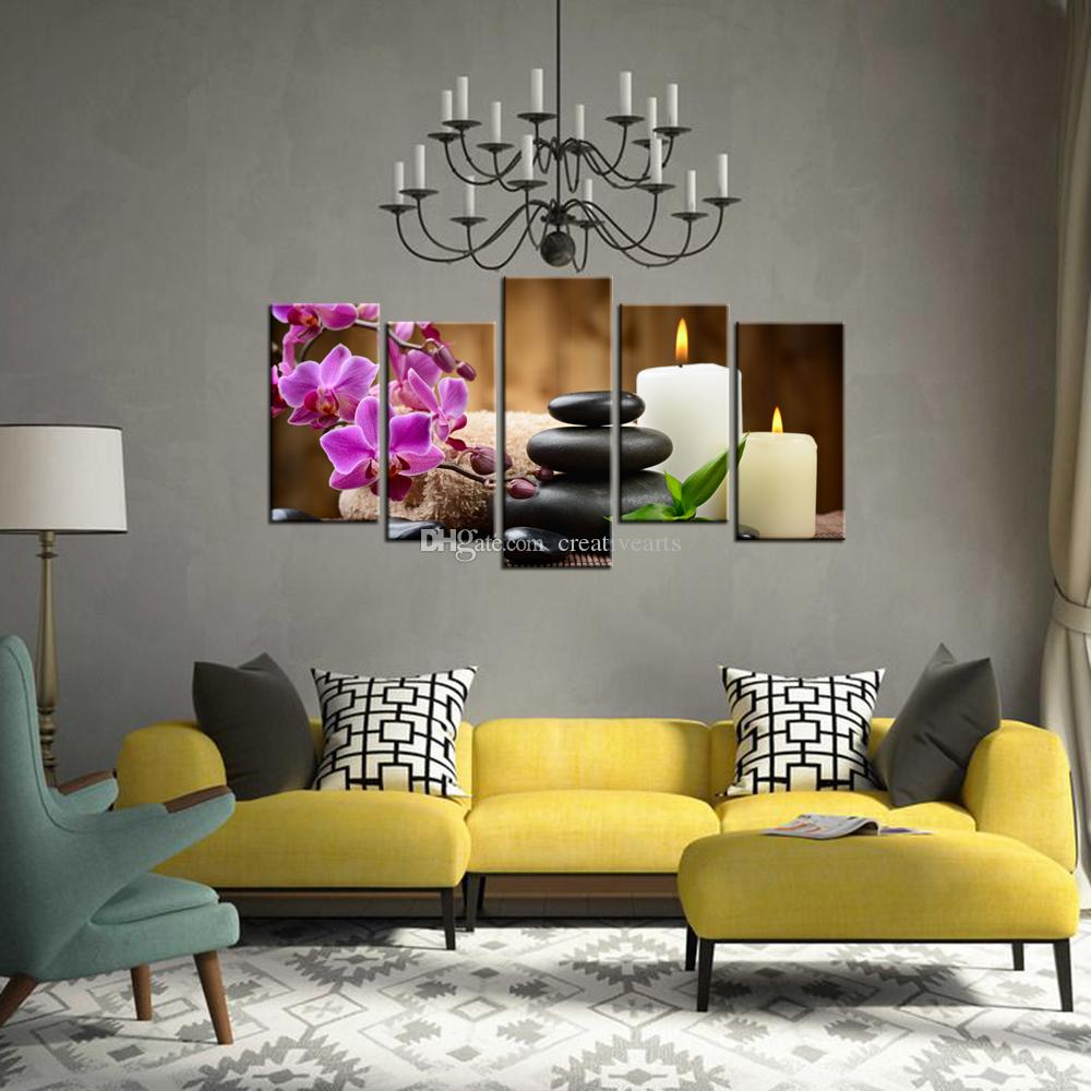 Stone Zen Picture Giclee Print Charming Butterfly Orchid Picture Printed on Canvas Wholesale Decorative Canvas Artwork