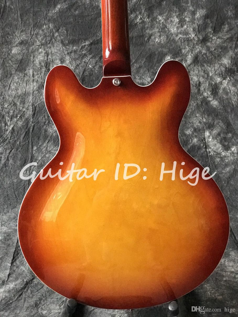 Chitarra elettrica personalizzata di alta qualità di nuovo stile, doppio foro F sul corpo, chitarra elettrica di jazz del corpo vuoto, guitarra caldo di vendita
