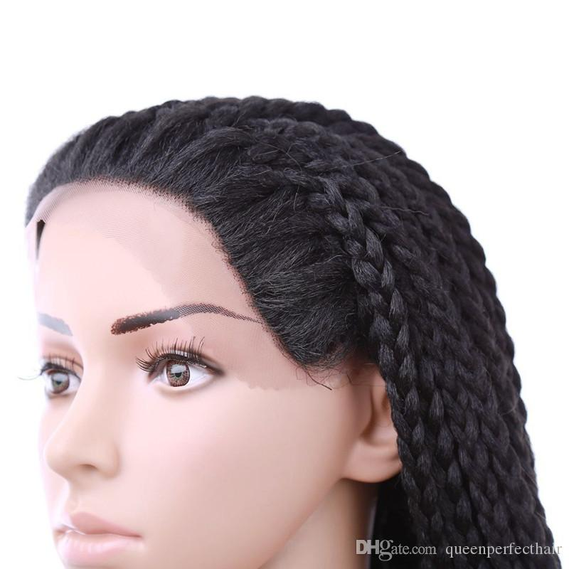 Full Hand Tied Long Black Color Glueless Box Braided Lace Front Hair Wigs Twist Braided Heat Resistant for African American