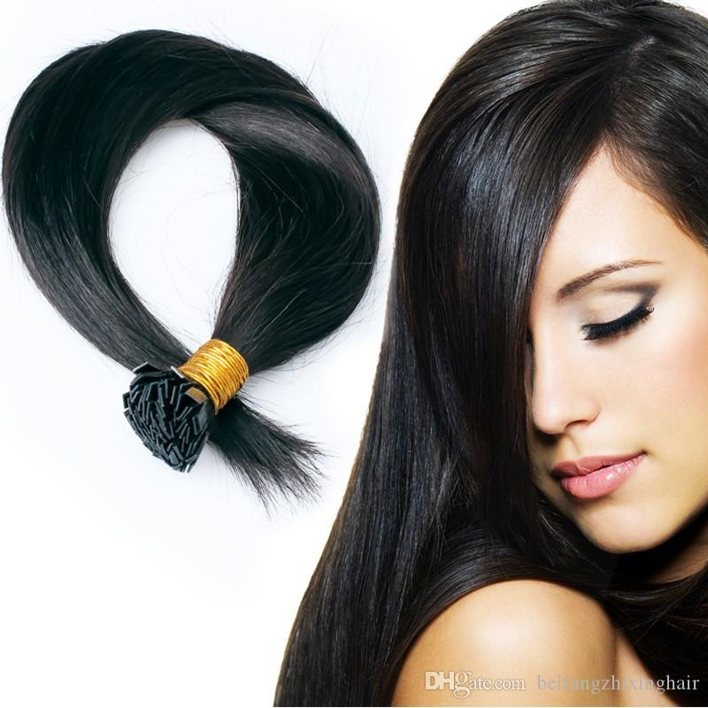 Elibess Grade 8A - 100% Menschen brasilianisches Haar, flache Spitze in den Haarverlängerungen, Länge 12 '' - 26' , 0,8 g / s300s / Los, freies DHL
