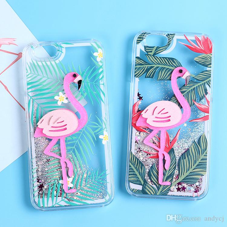 hot sale online a7621 36f6a 3D Flamingo palm leaves quicksand Glitter Case for iphone 7 7Plus Dynamic  liquid Case For iphone 6 6s 6Plus girl style