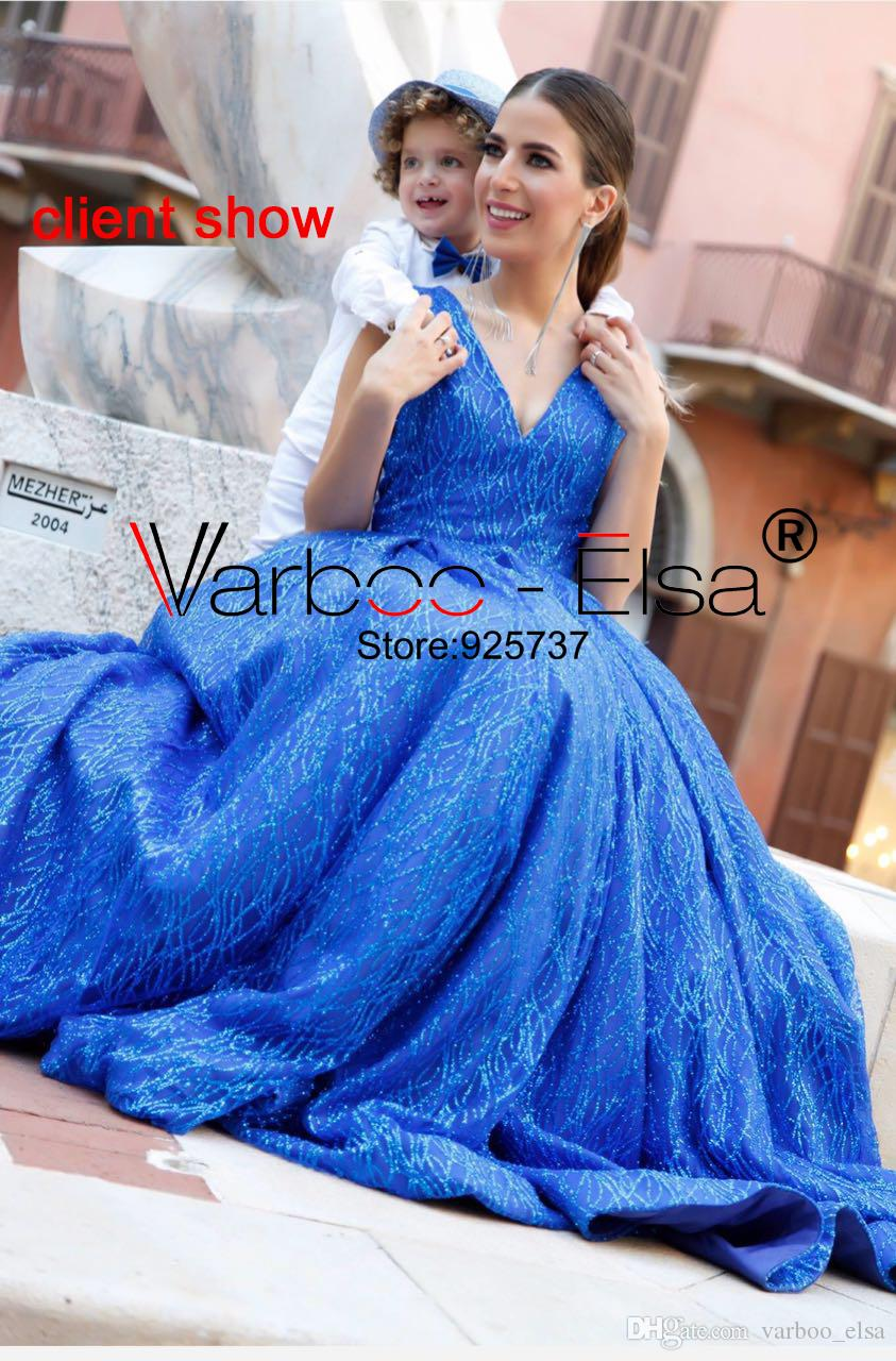 VARBOO ELSA New V-neck Saudi Arab Evening Gowns Royal Blue Prom ... 698028f5f197