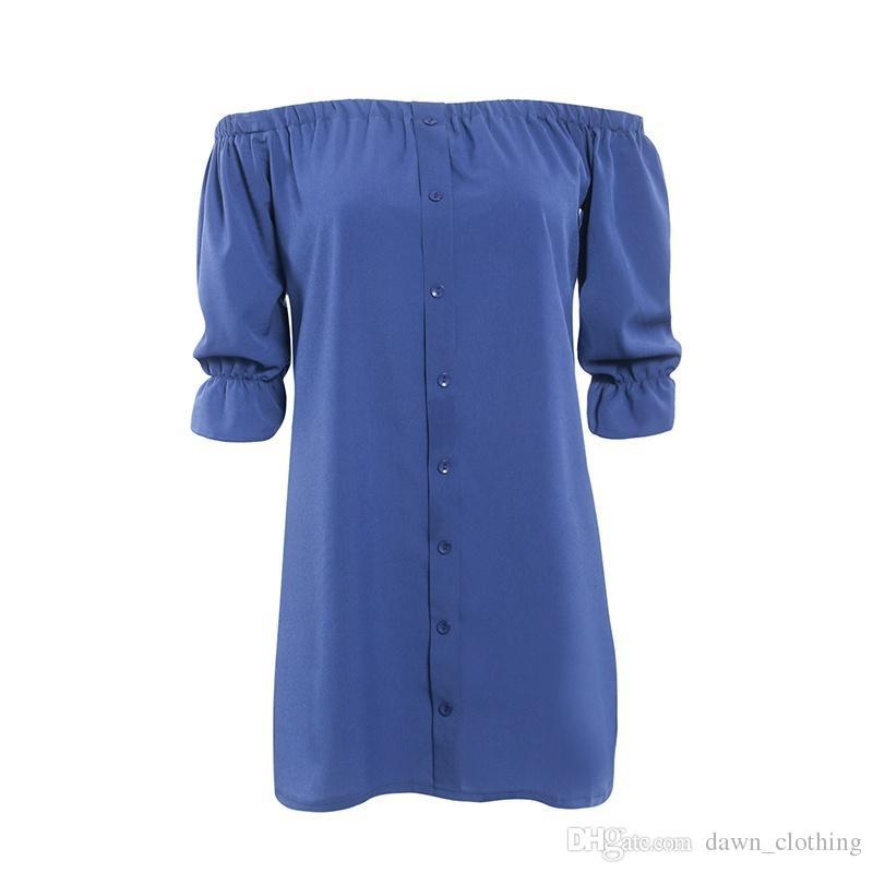 Kadın Moda Seksi Kapalı Omuz Kısa Kollu Mini Elbise Casual Slash Boyun Uzun Bluz Elbise T-Shirt
