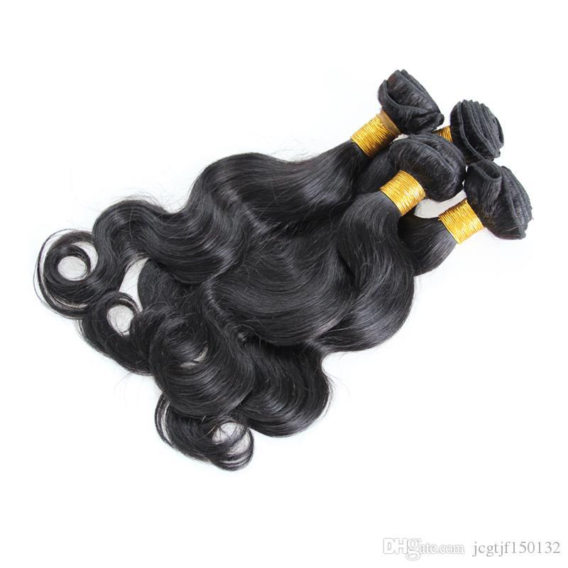 4 pacotes de onda do corpo brasileiro virgem cabelo weave Natural Cor Preta cabelo humano feixes