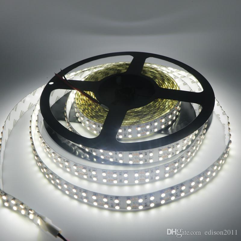 Edison2011 240 LED / m 3528 LED-band Dubbelrum 5m 1200LED Flexibelt band DC12V Varm / Vit icke-vattentätt Hem Inomhusljus