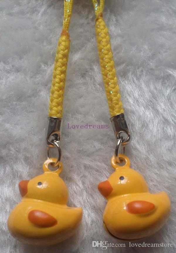 New Cartoon lovely little Yellow Duck Bell Cell Phone Charm Strap