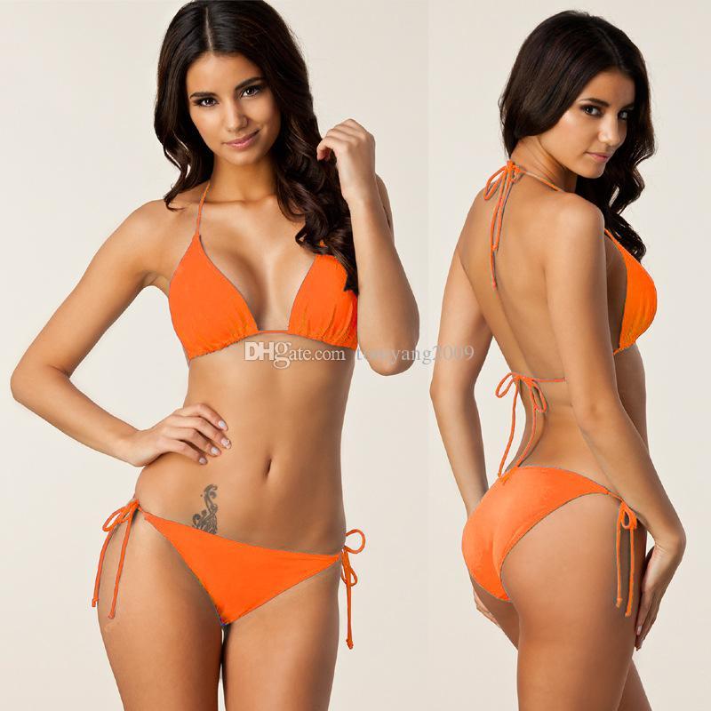 2017 Nova Venda Quente Marca Multi Cor Nylon Estilo Brasileiro Sexy Bikini Halter Estilo Meninas Swimwear 7 Cores Para Escolher Frete Grátis