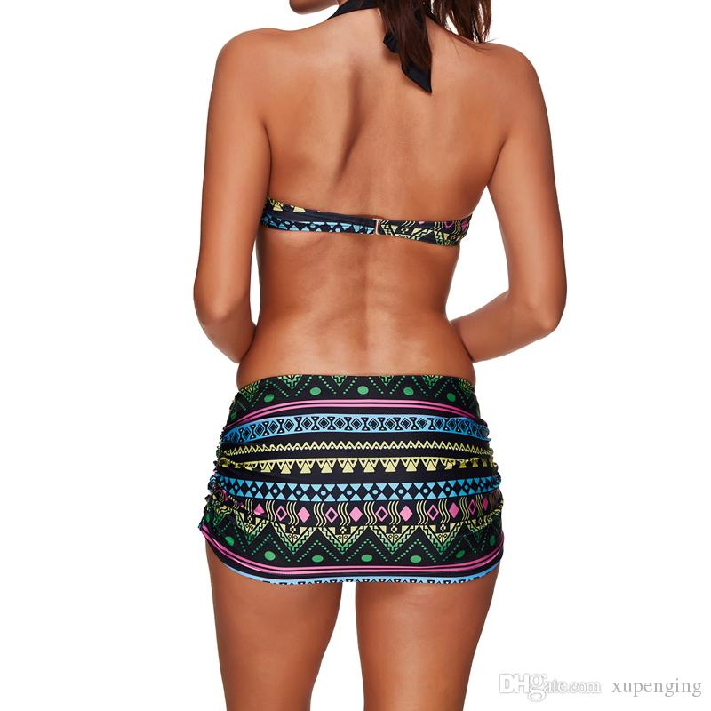2017 New Print High Waisted Wrap Triangle Bikinis Set Skirt Biquini Swimsuit Swimwear For Women Beach Bathing Suit Two Pieces S M-3XL