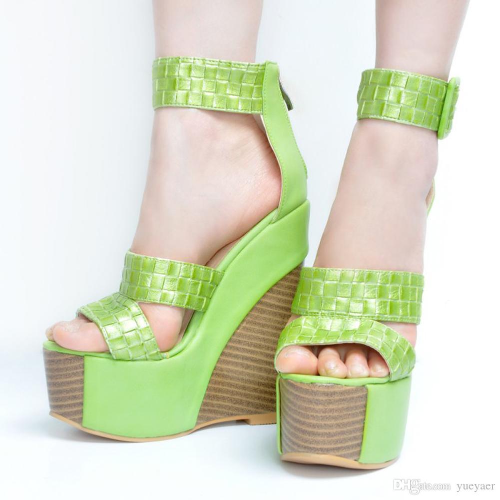 Zandina Bayan Moda El Yapımı 15 cm burnu Dorsay Tarzı Wadge Yüksek Topuk Toka Askı Parti Sandalet Ayakkabı XD107-8