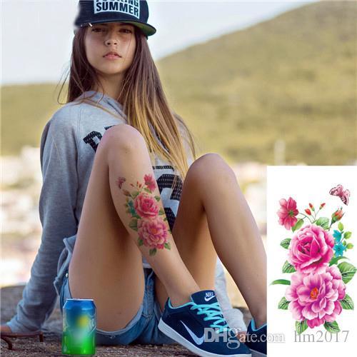 الهندي العربي وهمية فلاش الحناء ملصقات الوشم الأرجواني روز الزهور الذراع الكتف الساق الوشم ماء المرأة