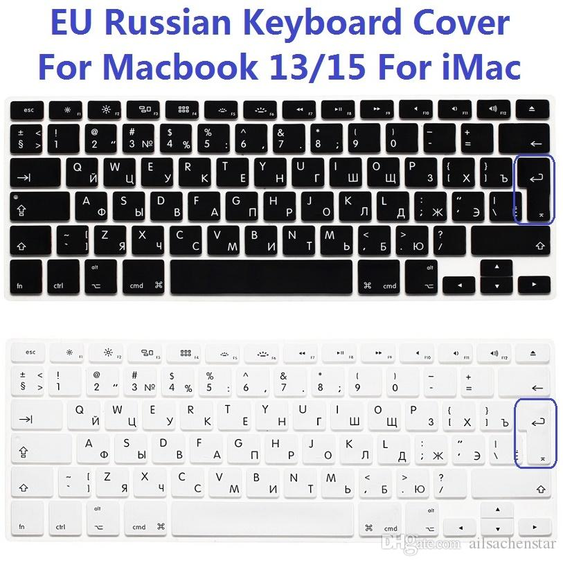 new arrival 2a25d 3ba5f EU Euro US Version RUS Russian Keyboard Cover For Macbook Air Pro Retina 13  15 Silicone Computer Keyboard Protector For iMac