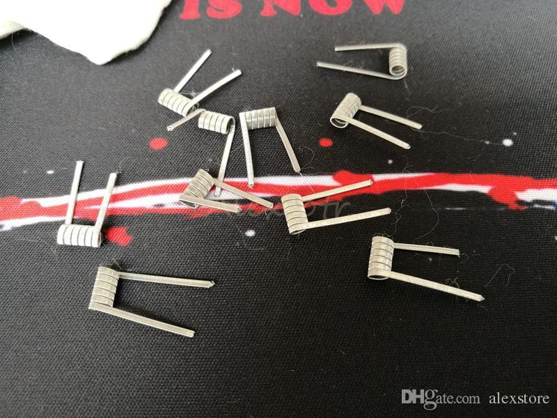 Quad Clapton Ni80 Pre-gebouwd spoel Nichrome 80 Draad 0.3Ohm 10 stks Pre-Built Coils Premade Wrap Katoen Howing Book Draden voor Vape RDA DHL