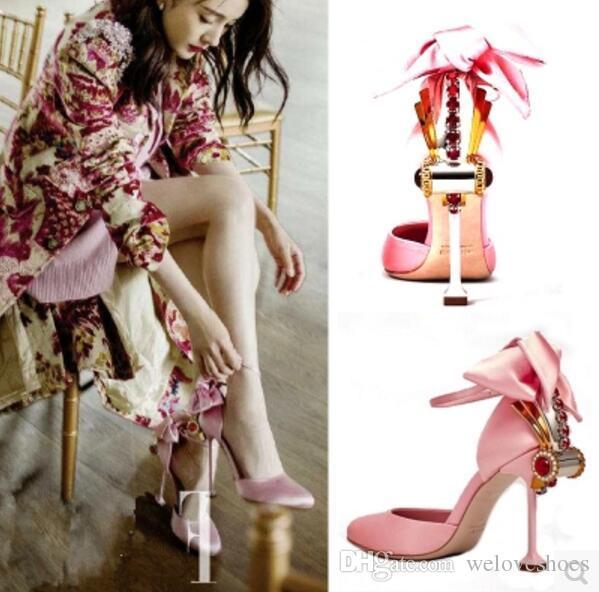 2017 мода женщины Гладиатор сандалии сексуальная партия обувь тонкий каблук Алмаз сандалии розовый боути высокие каблуки свадебные туфли дамы