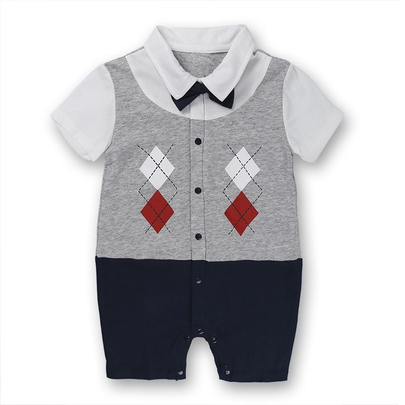 New Plaid Gentry Bow Tie Boys Rompers Bodysuits Baby Onesies Newborn Romper Infant Jumpsuit Rompers For Babies One Piece Clothing