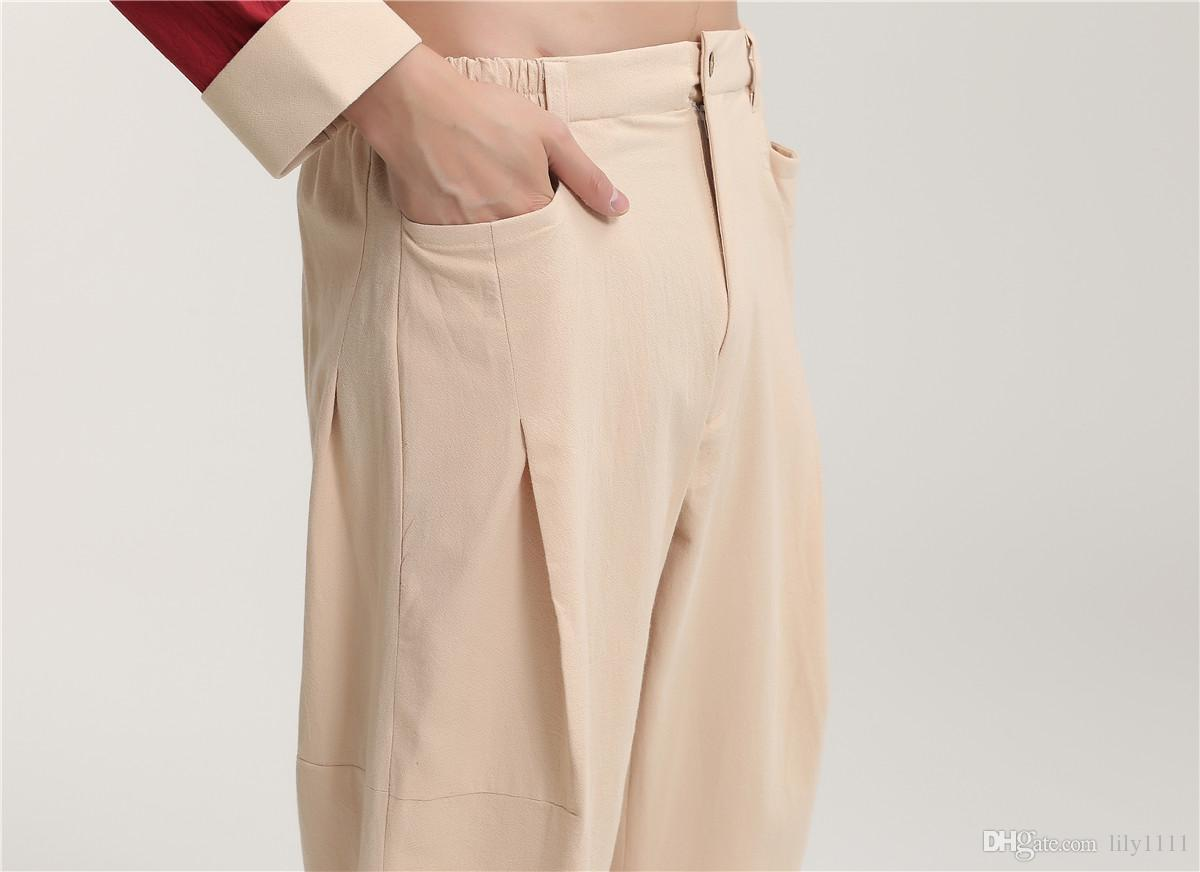 Shanghai Story traditional chinese clothing Men's Linen Pants martial arts Trousers for Man tai chi Kung fu Pants For Man