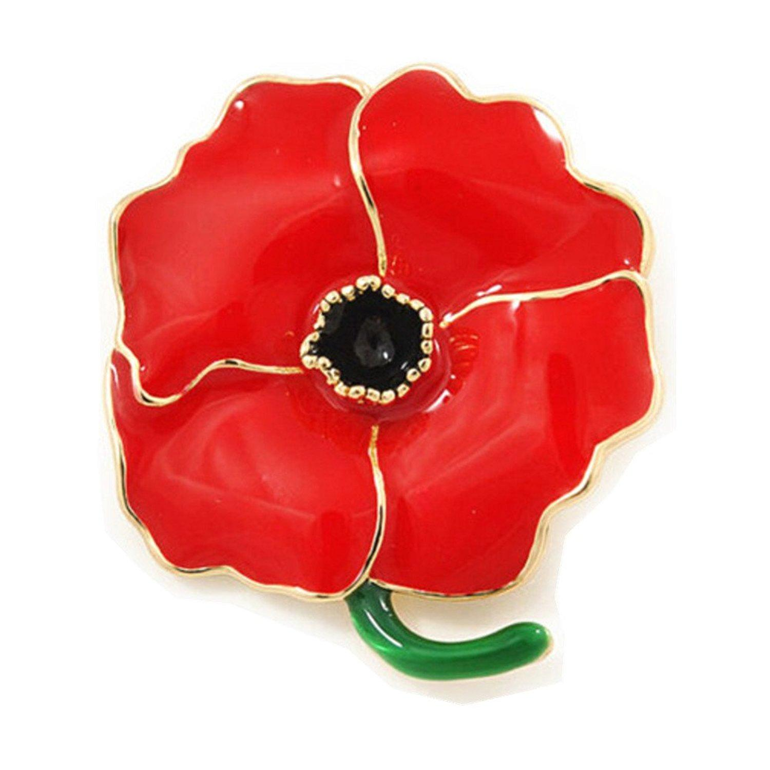 Gemin Large Poppy Flower Brooch Lapel Badge Pin Gold Brooch For