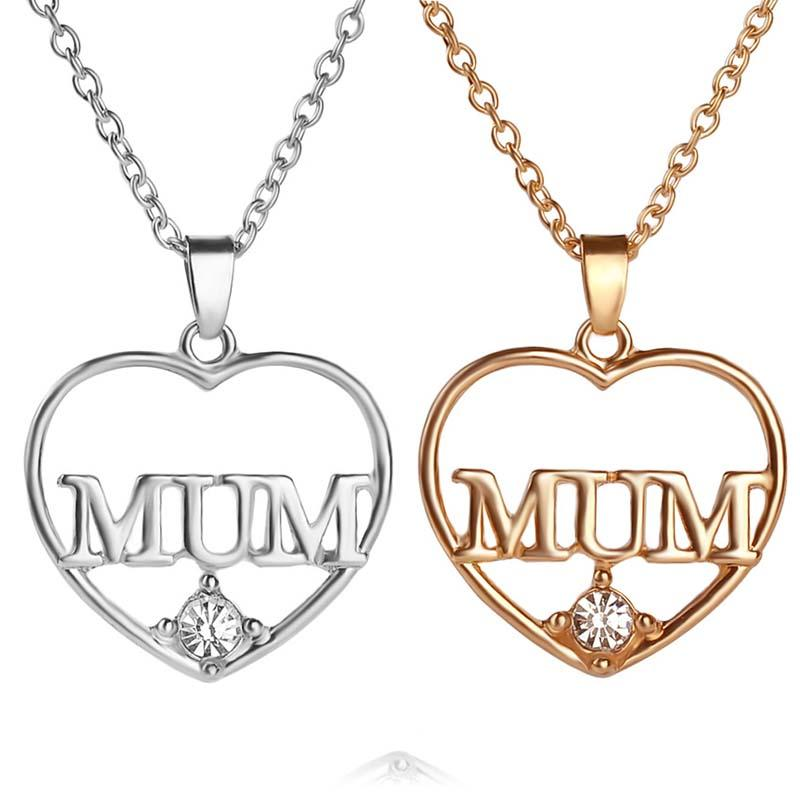 Wholesale crystal heart mum necklace 18k gold plated love heart wholesale crystal heart mum necklace 18k gold plated love heart pendants for women girls best friend necklaces mothers day gift jewelry 161171 silver aloadofball Image collections