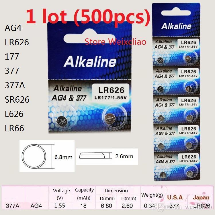 500 قطع 1 وحدة AG4 LR626 177 377 377A SR626 L626 LR66 1.55 فولت بطاريات زر خلية البطارية القلوية شحن مجاني